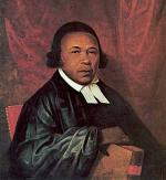 Oil on paper portrait of Absalom Jones wearing a black robe and a white collar.'