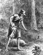 A sketch of Johnny Appleseed hoeing his seeds.