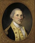 Oil on canvas, head and shoulders of George Washington in uniform.