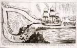 "The unidentified satirist gives a cynical view of the profit opportunity which this presented for Philadelphians. A three-masted ship with a smaller boat in tow sails toward a fork in a river. It is being lured by a devil toward the lower fork (eventually leading to Philadelphia), which falls precipitously in a rocky cataract, and away from the fork which leads to the ""Potowmack"" river. A devil beckons them on, saying, ""This way Bobby"" (referring to Robert Morris, the alleged instigator of the move). A man in the bow of the ship remarks of the figurehead, ""This looks more like a goose than an eagle's head."" Behind him another says through a bullhorn, ""Starboard your helm Coffer– don't you hear your friend on the Rock."" Another passenger waves a hat and shouts ""Huzza for Philadelphia."" A man (possibly Morris) holding the helm says, ""I will venture all for Philadelphia."" In the boat in tow the following conversation is in progress: ""Cut the Painter [tow line] as soon as you see the Ship in danger."" ""I wonder what could have induced the Controller to sign our Clearance."" ""Self gratification I suppose for it cannot be any advantage to the owner."" ""If they had come round in the S. Union the constitution would not have been lost."" ""They might have known that the Ship would have been in danger by comeing this way."" ""Ay, Ay, I had best do it [cut the rope] now for I believe she is going to the devil."" Below the falls, three men in a dinghy say, ""If we can catch the cargo never mind the Ship,"" ""Keep a sharp look out for a mijority and the treasury,"" and ""Ay, Ay that's what we are after."""
