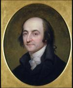 Oil on canvas, head and shoulders of Albert Gallatin.