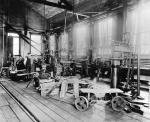 Inside view of the Machine shop at Lukens Steel, c. 1890.'