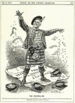 This is a cartoon of Andrew Carnegie  as the Macmillion, wearing a kilt made of the American flag.