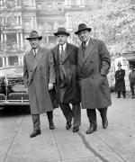 Benjamin Fairless, president of the U.S. Steel Corporation; Eugene G. Grace of the Bethlehem Steel Corporation; and Frank Purnell of the Youngstown Sheet and Tube Company, arriving at conference in Washington D.C., November 13, 1941.