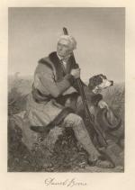 An etching of Daniel Boone seated on a boulder in a field. He is holding his hunting rifle and his hunting dog is by his side.
