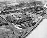 Aerial view of the Dravo Corporation's McKees Rock Terminal, circa 1945.