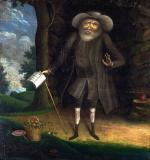 Oil on mahogany board of an odd looking, bearded, little man standing in front of a hollow of a tree. He holds a book and a cane in his right hand.