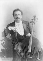 Picture shows a close-up of Victor Herbert holding cello. Undated photo.