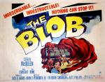 A movie poster depicting the Blob creature devouring a diner, while onlookers scream in terror.