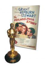 Photograph of the Philadelphia Story Movie Poster and the Oscar Stewart won.