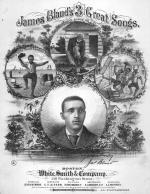 "Lithographic image of James Bland, from the cover to ""James Bland's Three Great Songs,"" White, Smith and Co., 1879."