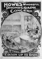 Poster depicting the phonograph demonstration on a stage with people sitting in an audience, and an advertisement.