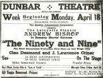 Advertisement for the Dunbar Theater of the Ninety and Nine.