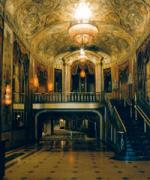 View of the lobby of the Warner Theatre