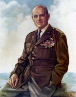 Oil on canvas painting of Army General Matthew Ridgeway in uniform.