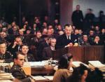 Chief American prosecutor Robert H. Jackson at podium.