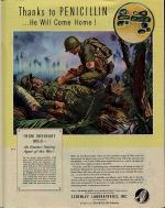 Ad for use of Penicillin depicts a medic kneeling over a wounded soldier.