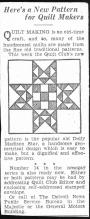 Detroit News, Here's a New Pattern for Quilt Makers, Dolly Madison Star, March 1934